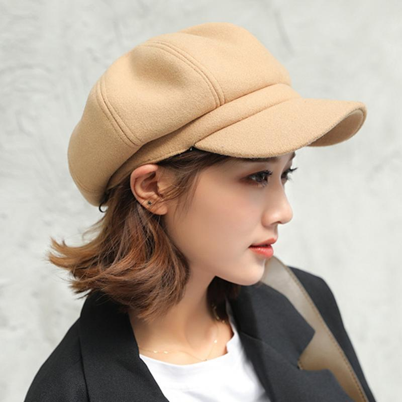 Hiver Femmes Vintage Newsboy Hat Faux laine Visor Beret octogonal Retro Trendy High Street classique Paperboy Cabbie Cap pour les dames