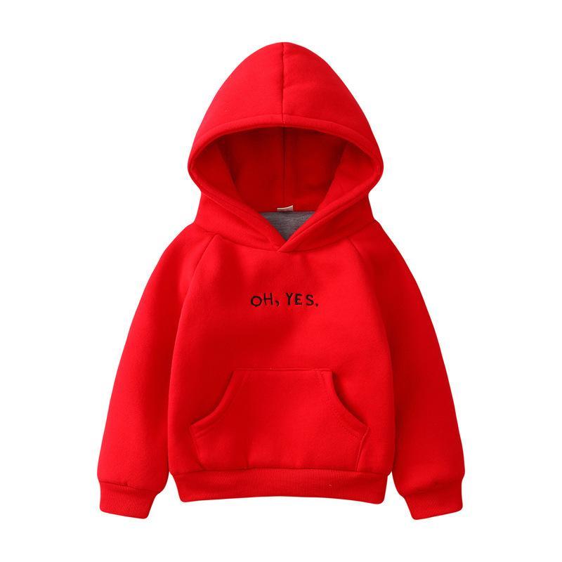 Otoño invierno manga larga chico con capucha sudaderas niña niño niños ropa camiseta letra de bebé patrón top 2-8 años 201216