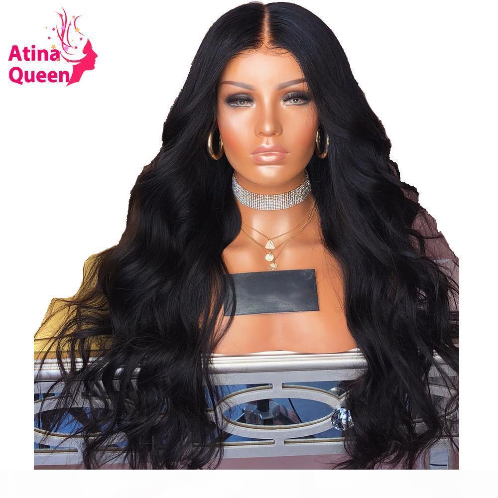 Atina Rainha 180% Densidade onda do corpo de rendas frente perucas de cabelo preto natural humano para mulheres com bebê Pré cabelo arrancado da linha fina Remy