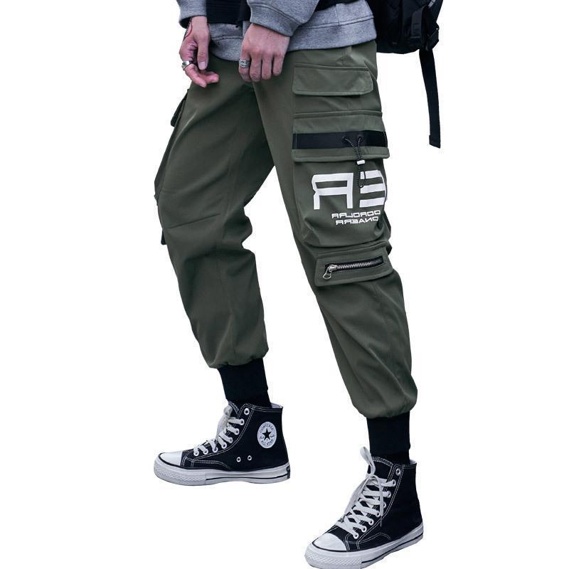 Cargo pants men 2021 autumn winter new bags of mens pants high street popular logo casual