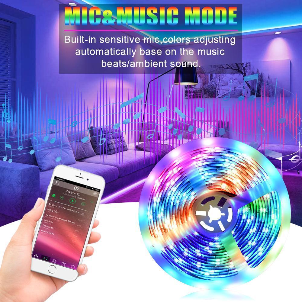 5M светодиодные полосы света RGB обнажает Tape Light 150 светодиодов Водонепроницаемый Music Sync Изменять цвета Bluetooth 24key дистанционного управления Decor