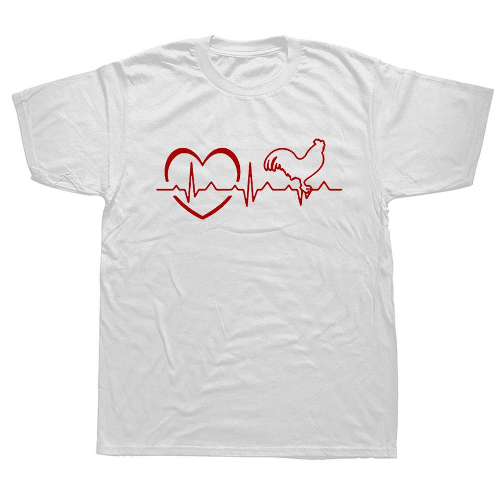 Nouvelle mode d'été Love Chicken T-shirt Hommes Coton à manches courtes Coton Heartbeat de T-shirt Hen Tops Camisetas Tshirt