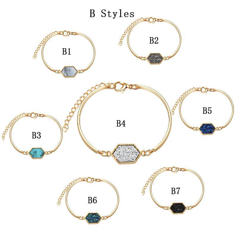 BeautyNew Druzy necklaces Dangle Earrings Natural Geometric Stone Pendant Charm Bracelet Rings For women Girls Fas