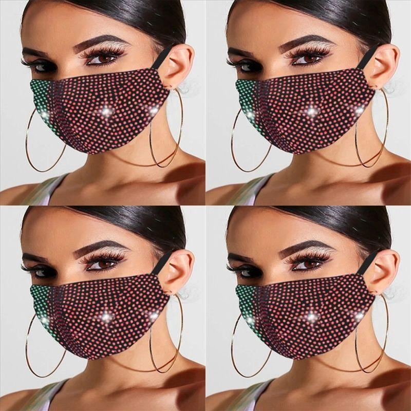 XIK Moda Lentejuelas Rhinestone Bling Elástico Adoro Adiro Cubierta Boca Reutilizar Máscara Lavable Mascarilla Protectora Mascarilla Polvo Face