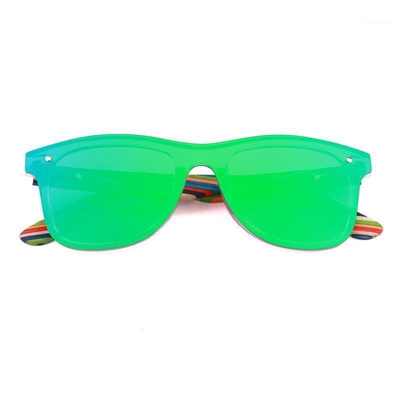 Classic one-piece mirror lens polarized sunglasses women fashion colorful wooden temple sun glasses for Unisex UV400 goggle1