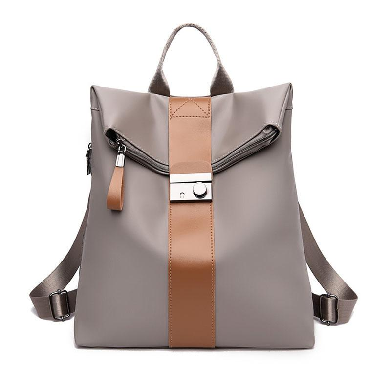 Fashion Waterproof Design Women Backpack Anti-Thief Female Solid Color Large Capacity School Bag Casual Travel Shoulder Handbags Q1113