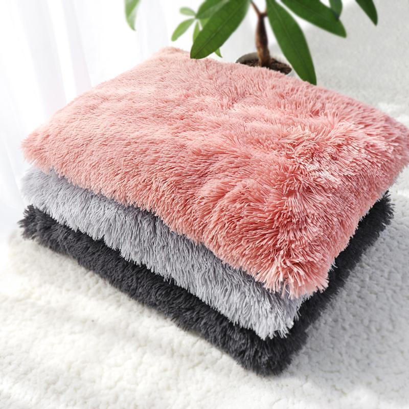 Tapis de chat de chat hiver doux en peluche épaisseur chiot lit bébé coussin amovible coussin de couchage pour animaux de couchage pour petits gros chiens