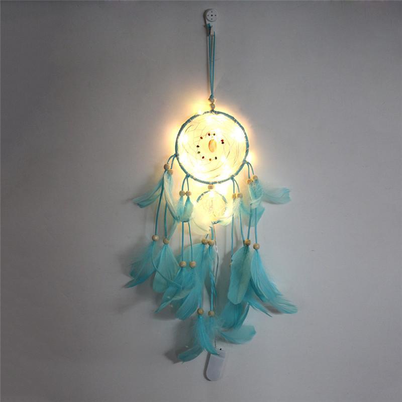 Traumfänger LED-Beleuchtung Feder-Netzwerk Home Dream Catcher Hängen Handgemachte Nachtlicht Mädchen Raum Wand Leuchtende Dekoration Owe2976