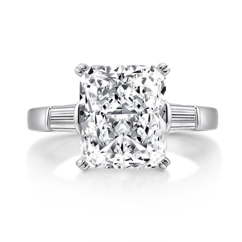 Оперативное кольцо стерлингового серебра 925 стерлингового серебра нарезать 5CT Diamond Engagement Wedding кольца для женщин-вечеринка Три каменных кольца пальцев Ювелирные изделия