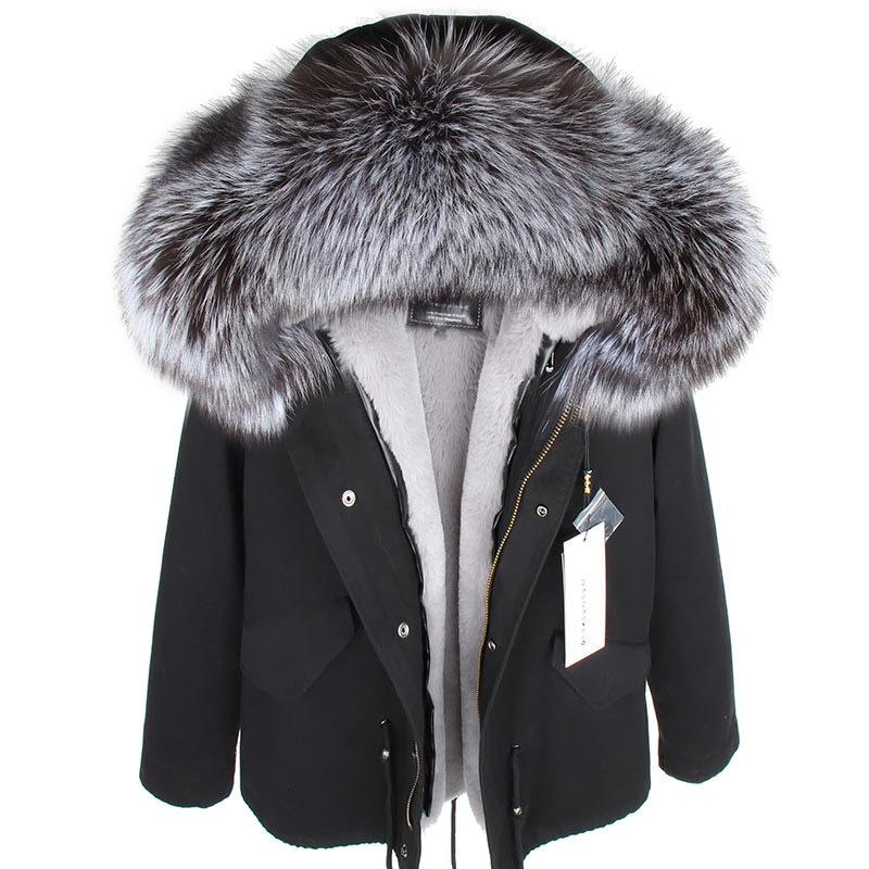 MMK Real Piel Abrigo New Fashion Real Fox Collar de piel de invierno Ropa de mujer Ropa extraíble Chaqueta espesada corta Abrigo de Pike 201110