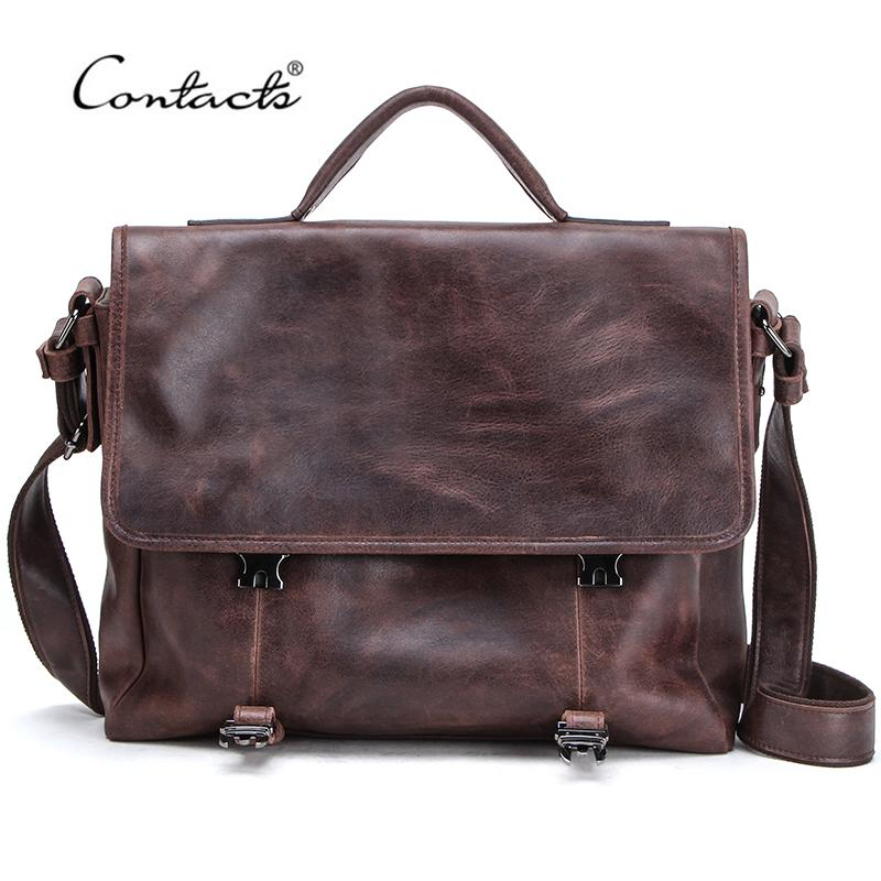 CONTACT'S Casual Men Genuine Leather Briefcase Male Business Laptop Bags High Quality Messenger Bag Tote Handbags Bandolera Q0112