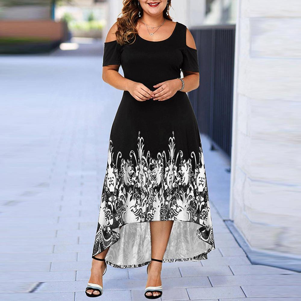 ICCLEK S-7XL Akşam Parti Yaz Artı Boyutu Maxi Kadınlar Kısa Kollu Çiçek Baskılı Zarif Bayanlar Vestidos Için Büyük Elbise