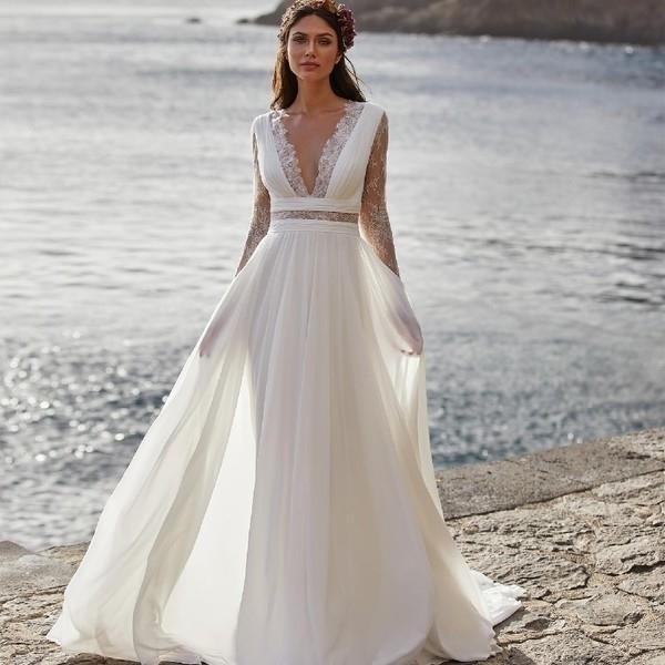 Богемное свадебное платье 2021 с длинным рукавом V-образным вырезом длиной дол шифон A-Line кружева спины свадебные платья с поясом очаровательный для женщин Q1110