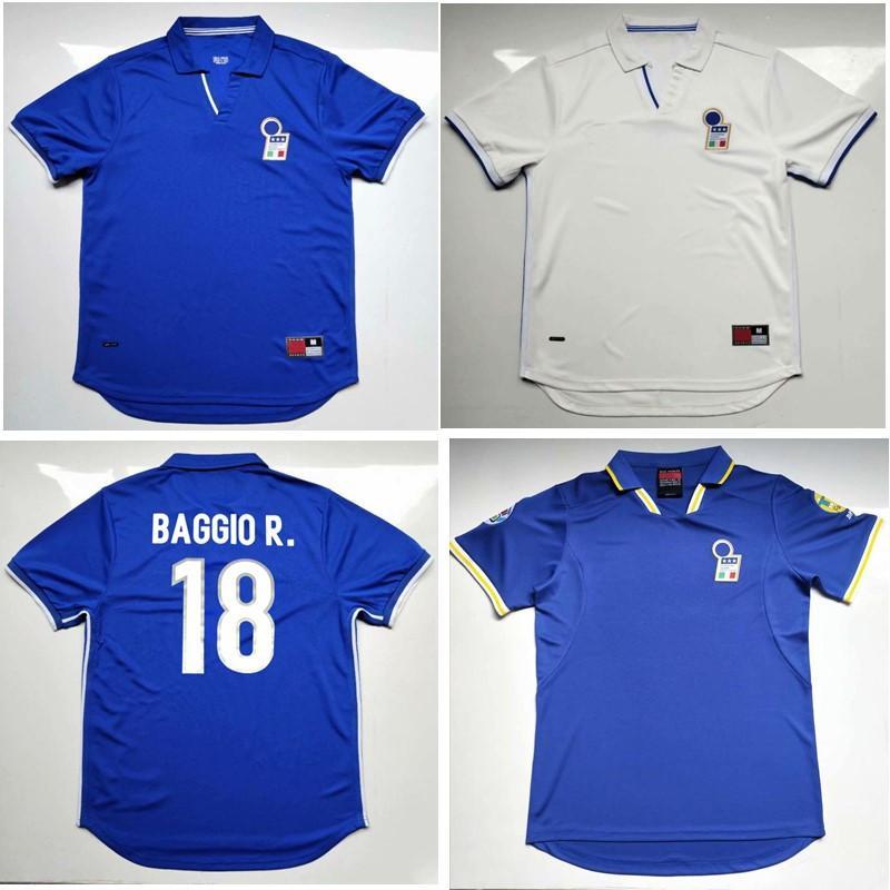 Thai 1998 Itália Retro Soccer Jersey 1996 Maldini Vieri Camisa de futebol Baggio R. Jerseys Totti Pirlo del Piero Classic Maillot de pé