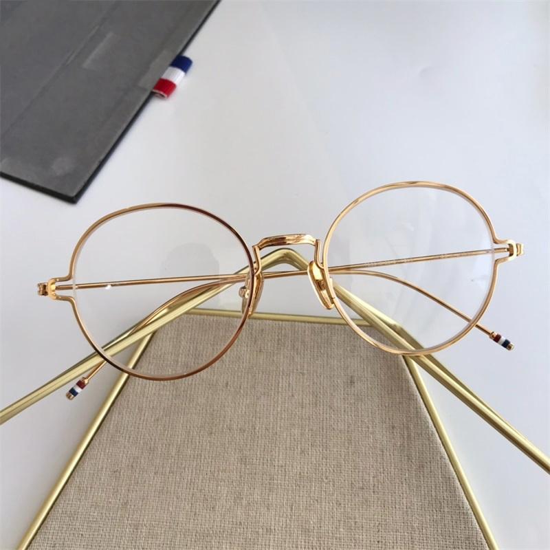 Золотое стекло Новый дизайнер Круглый объектив рамы металлические Оптические глаза Женщина прозрачные Серебряные Очки Черная рамка Роскошные Очки 2020 UPTKS