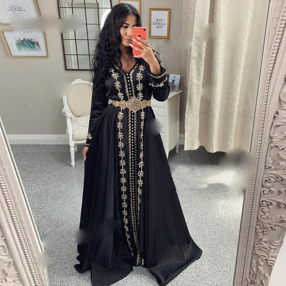 Moroccan Kaftan вечерние платья 2021 с длинными рукавами V-образным вырезом мусульманское выпускное платье арабское платье на заказ