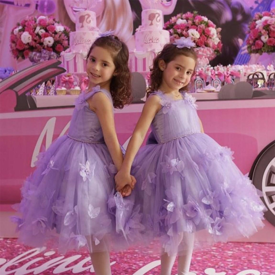2021 Vintage Çiçek Kız Elbise Düğün için Lila Kızın Pageant Prenses Tül Tutu El Yapımı Çiçekler Çocuklar İlk Communion Parti Abiye