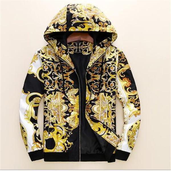 New Fashion Designer Mens Giacca a vento a vento a maniche lunghe Mens Floreale Giacche con cappuccio Abbigliamento Zippe Giacca Cappotto Plus Vestiti