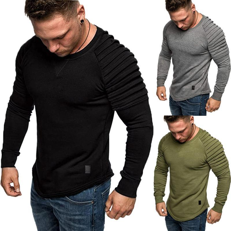 2020 Autumn Hot Sale Men's Base Shoulder Pleated Pullover Solid Color Long Sleeve Round Neck Casual Fitting Wild Top Sweatshirts
