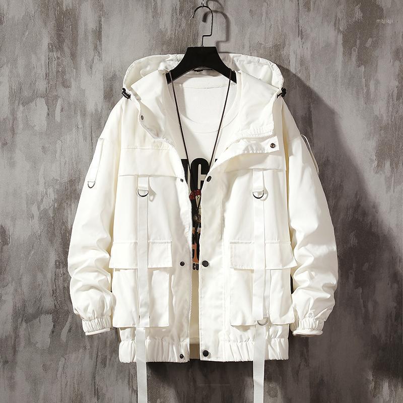 Мужская уличная одежда хип-хоп бомбардировщик куртка 2019 человек Harajuku ленты карманы ветровка корейский стиль моды одежда плюс размер1