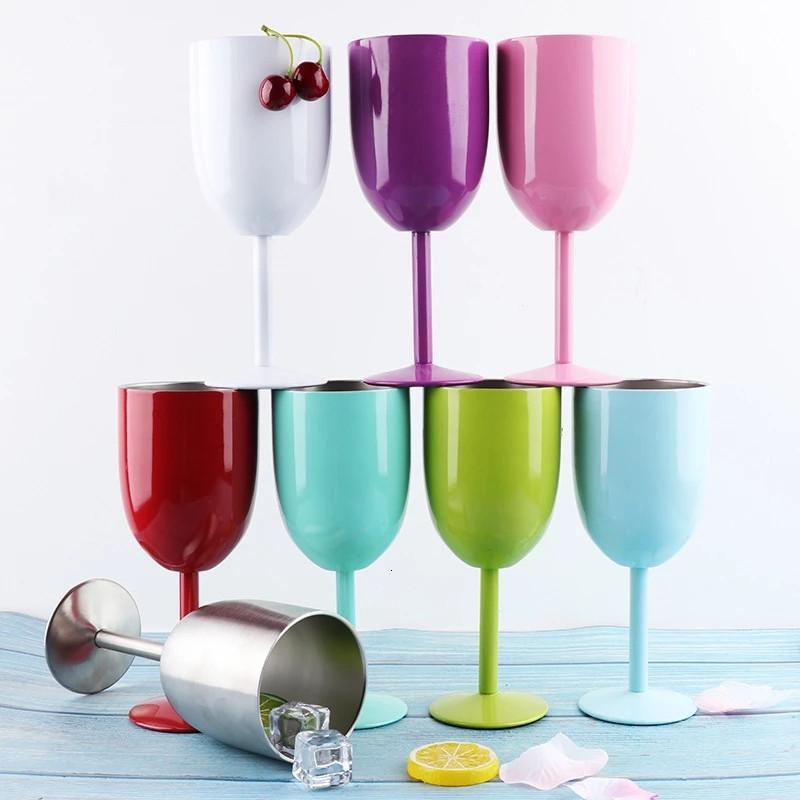 9 Farben 10 Unzen Edelstahl Wine Cup mit Dichtungsdeckeln isoliert Champagner Saft Becher Doppelwand Cocktail Glas Home Party Trinkerei