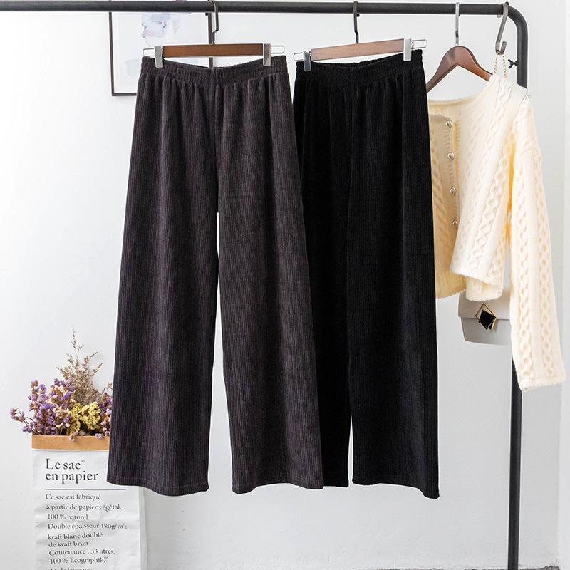 Outono / Inverno Novo Estilo Coreano Arte Retro Solta Chenille Lega Perna Calças Mulheres Casual Pants Sa261