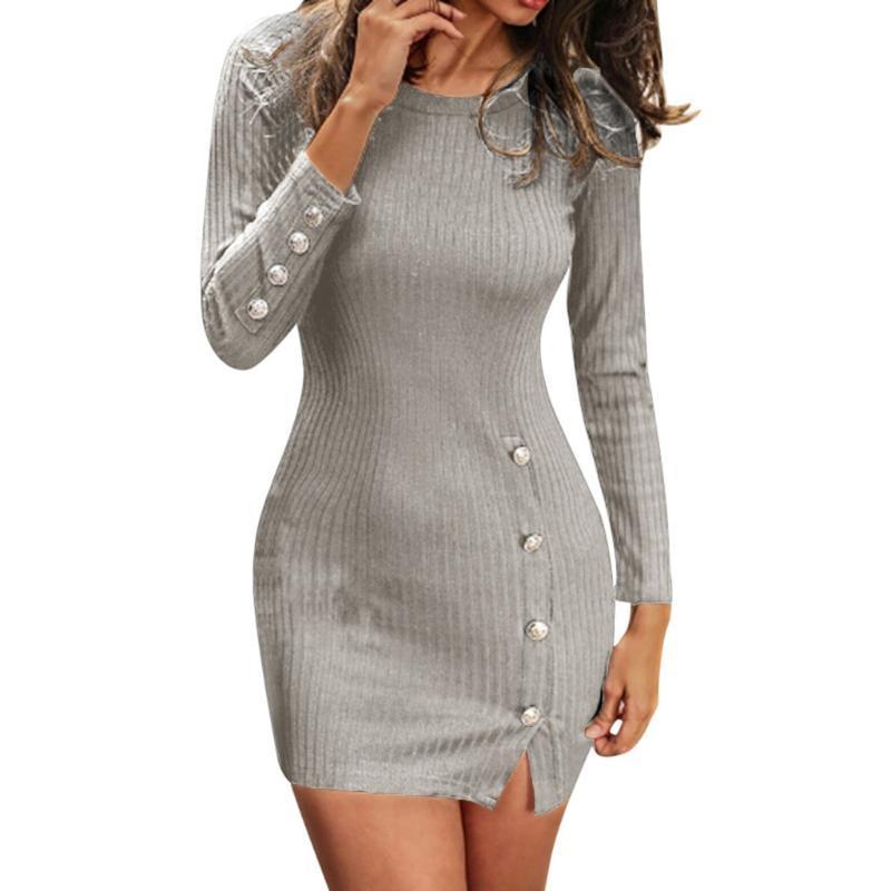 Kısa Kadınlar Elbise Uzun Kollu 2021 Sonbahar Kış Seksi Bodycon Mini Elbise Ile Düğme Yarık Artı Boyutu Bayanlar Günlük Elbise # J30