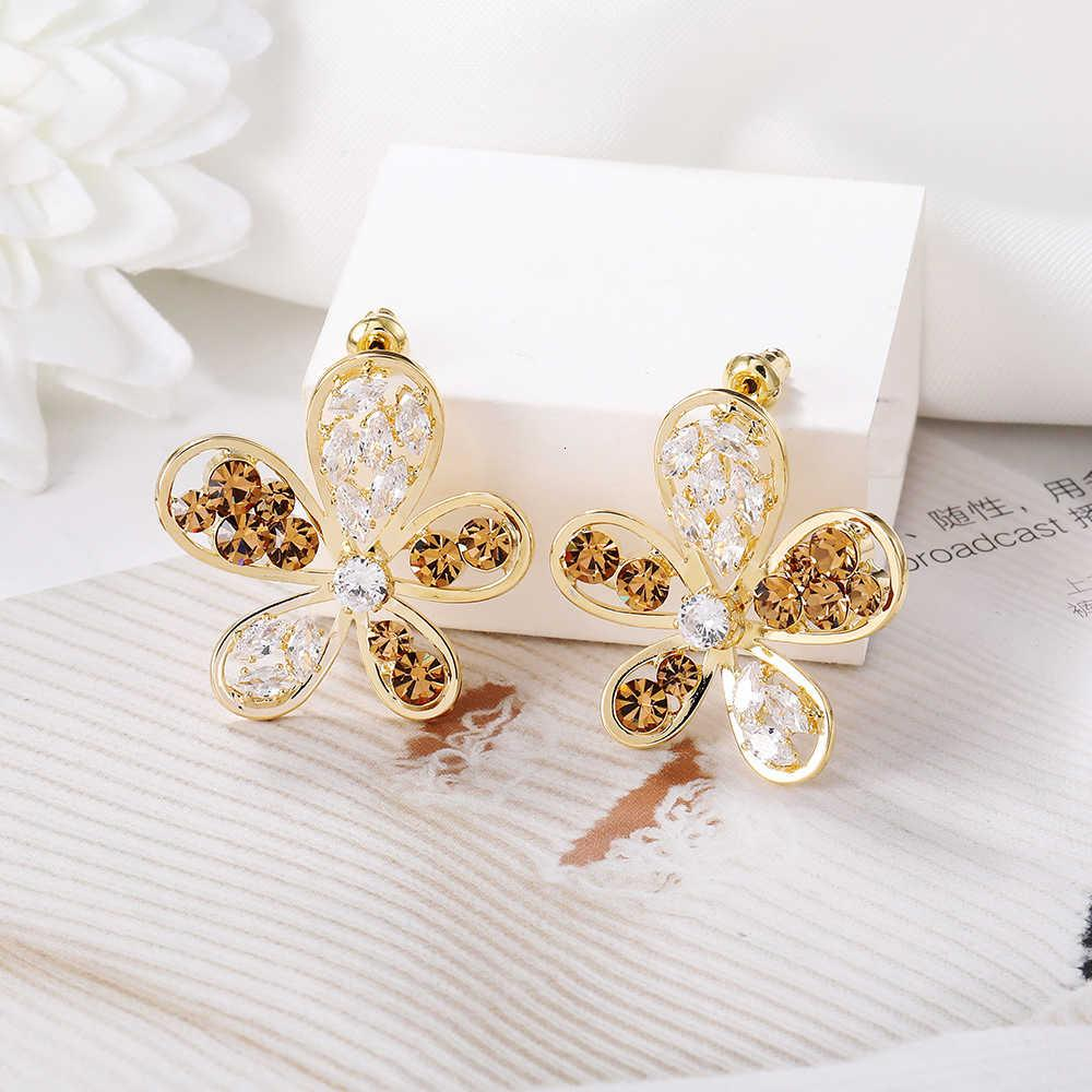 Металлическая сеть красный корейский полный алмазный версию цветок женский S925 серебряные серебряные серебряные