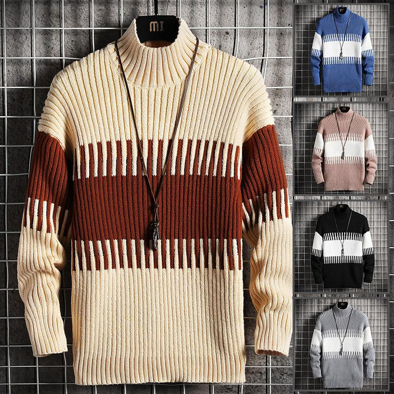 Fashion-January snow Autumn Winter Christmas Sweater Men Clothes 2020 Fashion Warm Mens Sweater for Men Pullover Patchwork Hit Color