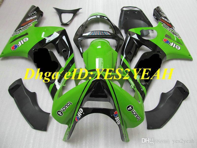 Kawasaki Ninja ZX6R 636 03 04 ZX 6R 2003 2004 ABS 플라스틱 그린 블랙 페어링 세트 + 선물 KG13