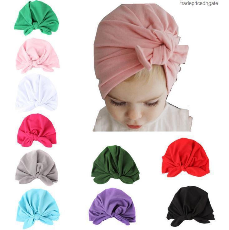 Knotted moda boné de bebê coelho crianças queda inverno ouvido de algodão macio chapéus menino menina gorros muçulmia indiano boêmia cocpie