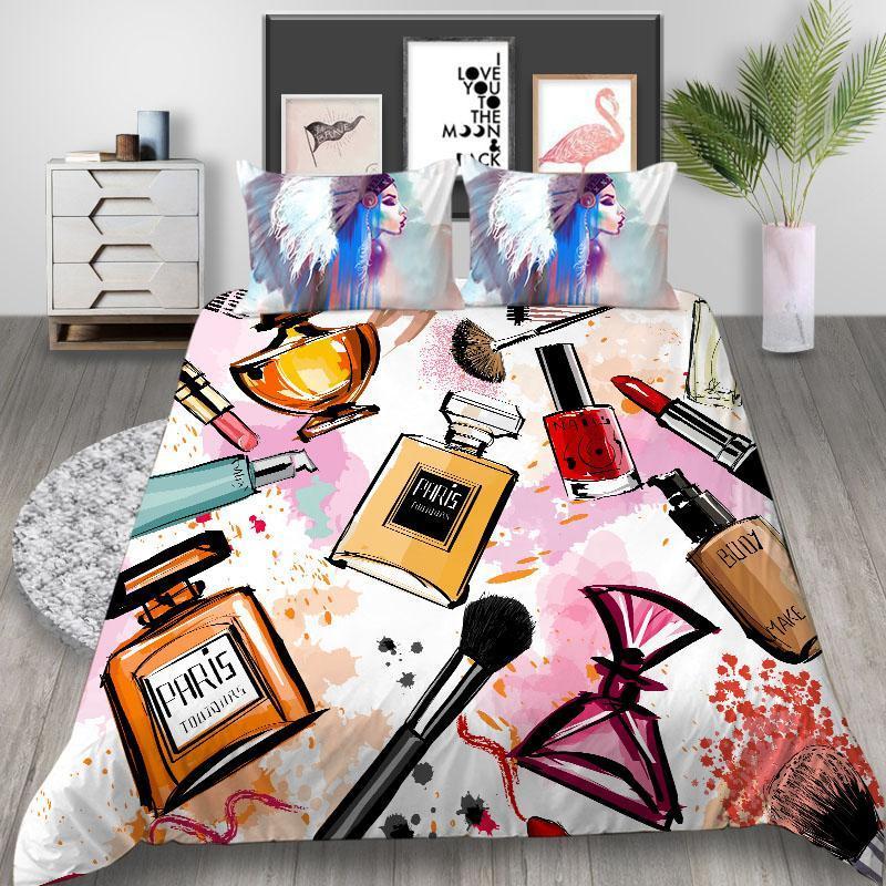 침구 세트 엄지 손가락 럭셔리 세트 메이크업 패션 이불 커버 소녀 예술적 킹 퀸 트윈 더블 싱글 독특한 디자인 침대