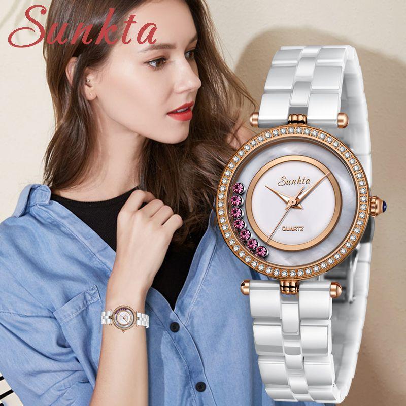 Sunkta Fashion Womenes Montres Rose Gold Dames Bracelet Montre Reloj Mujer 2019new Creative Creative Waterz Quartz Watch pour Femme + Boîte J1205