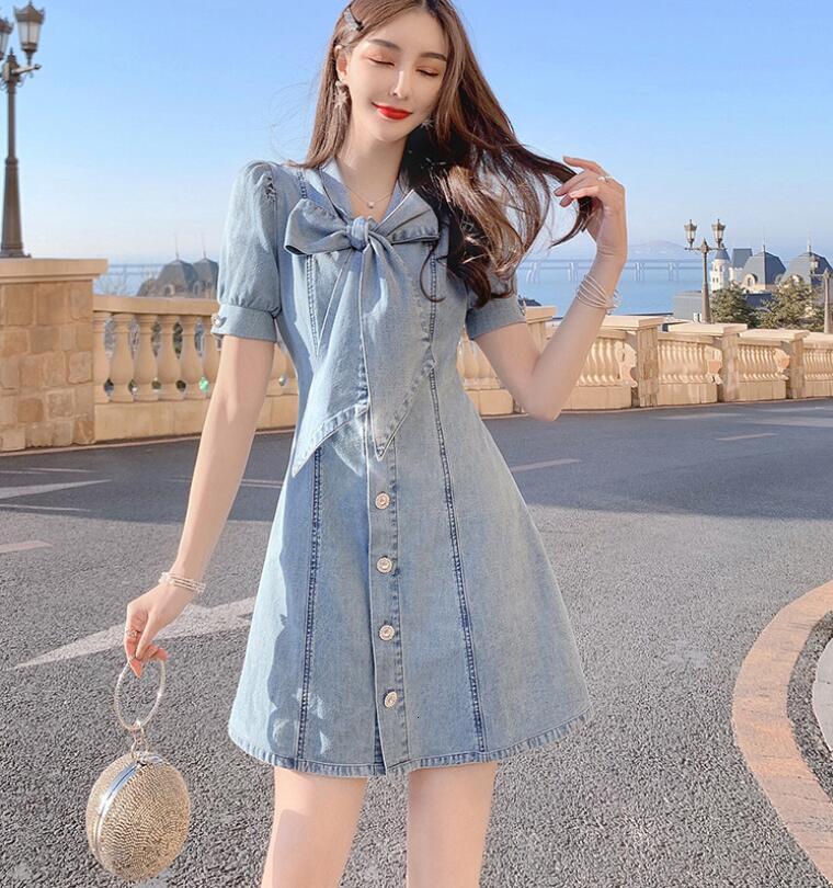 Mini vestido em jeans de manga curta, peça única para mulheres, tamanho grande, p1044, verão 2021 sfhj