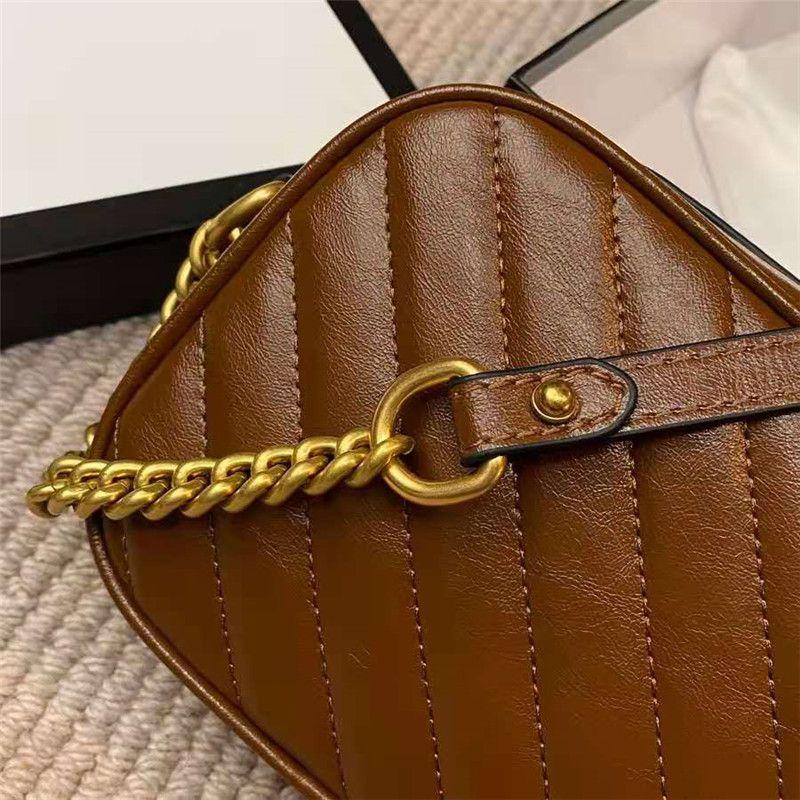 Más nuevo diseñador dorado hebilla color cadenas de color cruz caramelo swill pesado verdadero cuerpo bolsas bolsa de cuero baguette hombro bolsa correa mujer mano kihb