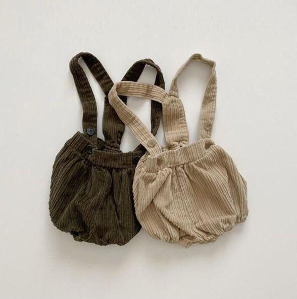 Children Back Blet Pants Autumn Winter Corduroy Short Pure Colors Suspenders Kids Trousers Infant Baby Overall