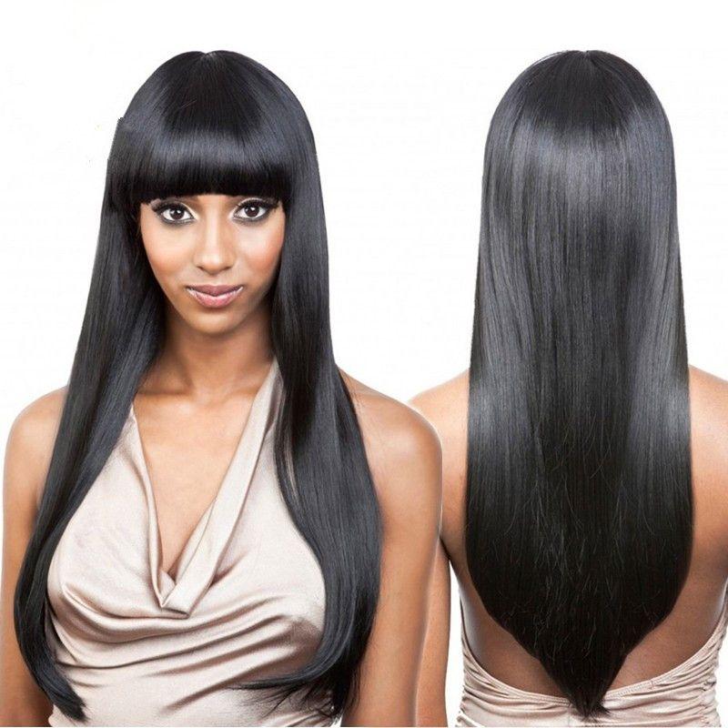 Полные кружевные парики кружевные фронтские парики 100% бразильские человеческие волосы прямо с челкой не проливают с детскими волосами вдоль периметра