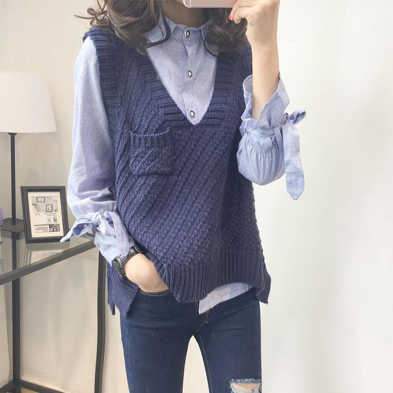 Donna maglioni gilet maglia da donna in maglia con scollo a V vestito da donna in due pezzi set femme chandals tira il regalato