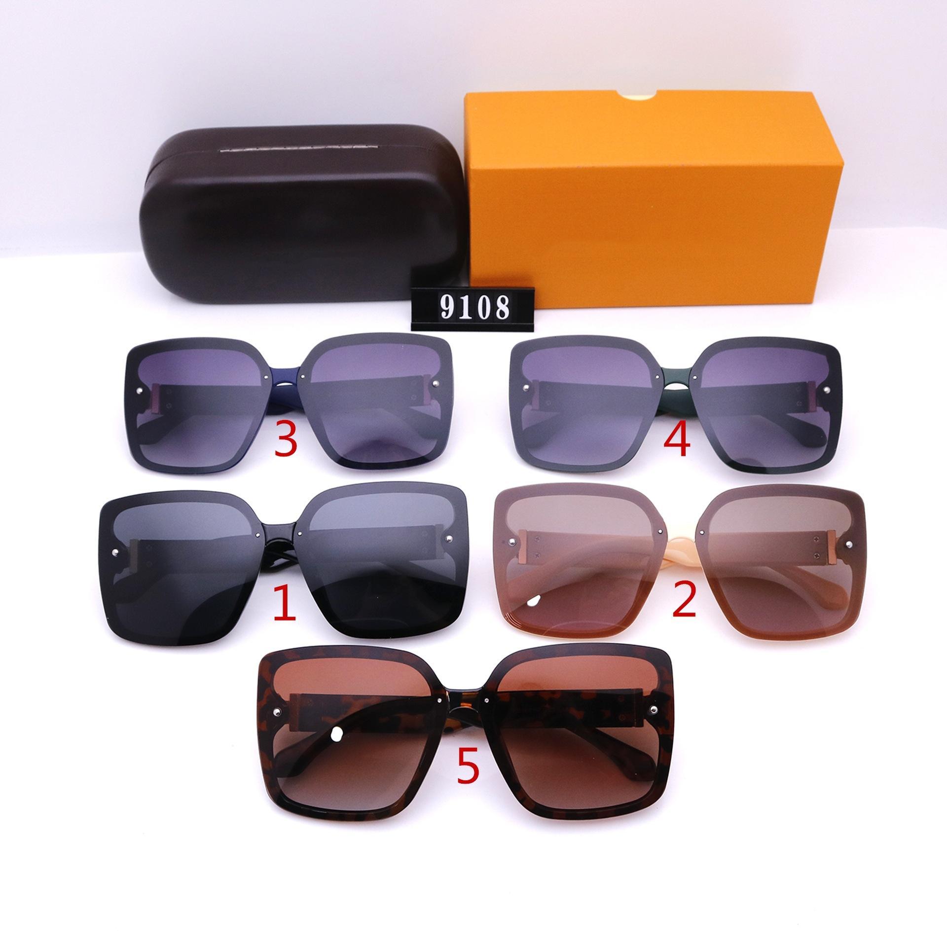 Erkekler ve Kadınlar için Moda Güneş Gözlüğü Tasarımcı Lüks Yüksek Kalite HD Polarize Lensler Sürüş Büyük Çerçeve Güneş Gözlükleri 9108