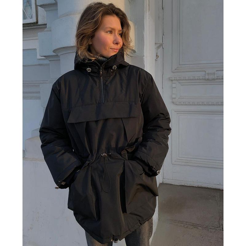 Kadın Ceketler Malina Moda Safari Stil Kadınlar Zarif Gevşek Ön Fermuar Mont İpli Kapüşonlu Cepler Bayanlar