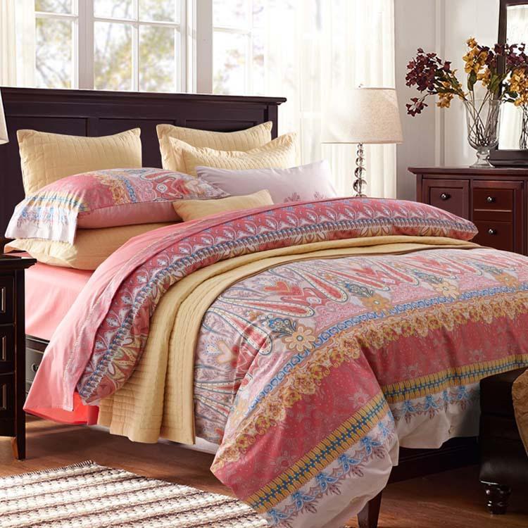 Accueil Textiles, Promotion 2020 100% coton Satiné Satiné Réactif Housse imprimée Sheetding Feuille de lit de couvre-lit Taie d'oreiller Livraison Gratuite