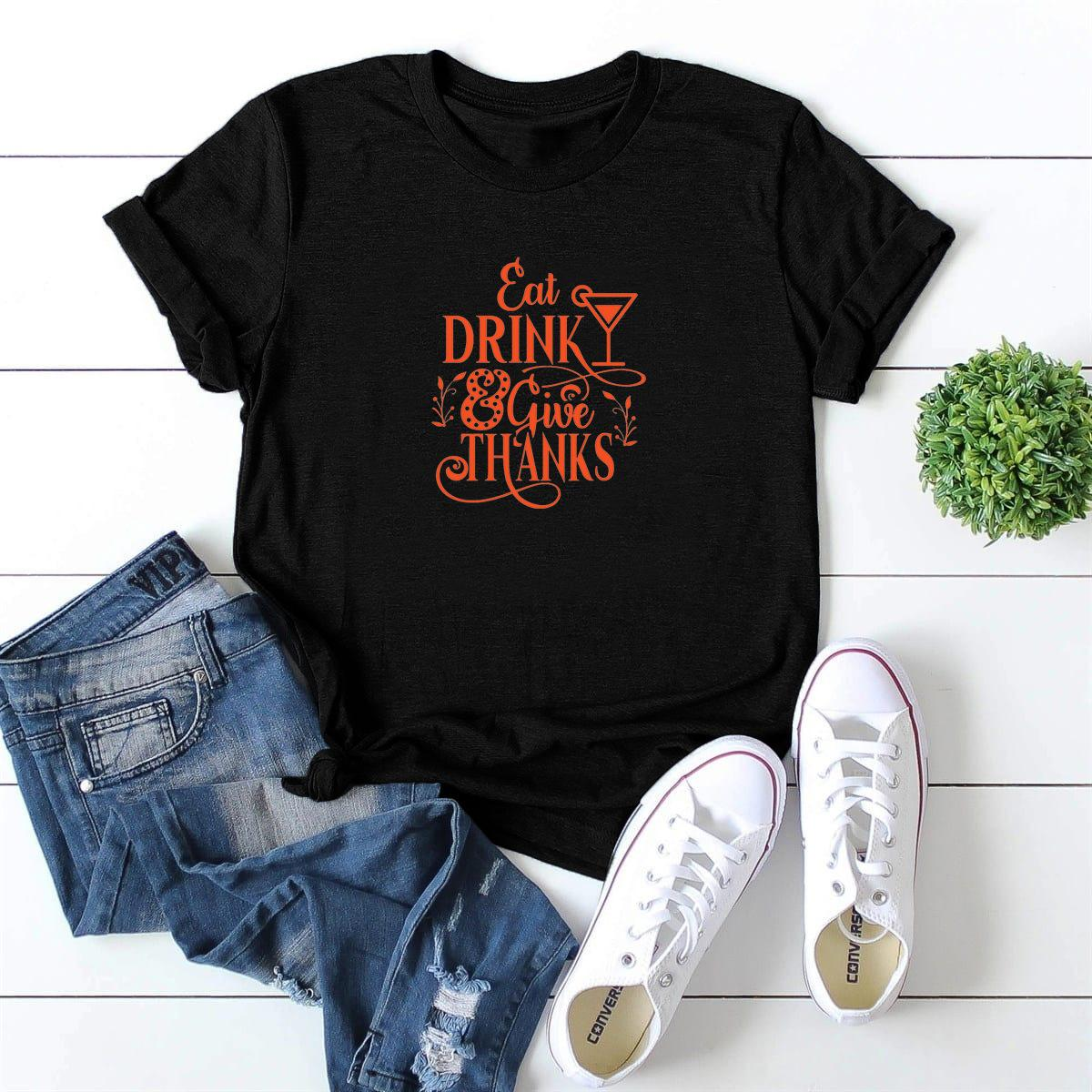 LH20128 Neu bei Getränkegiue Dank Weinglas Muster Gedruckt Rundhals Kurzarm T-Shirt Frauen