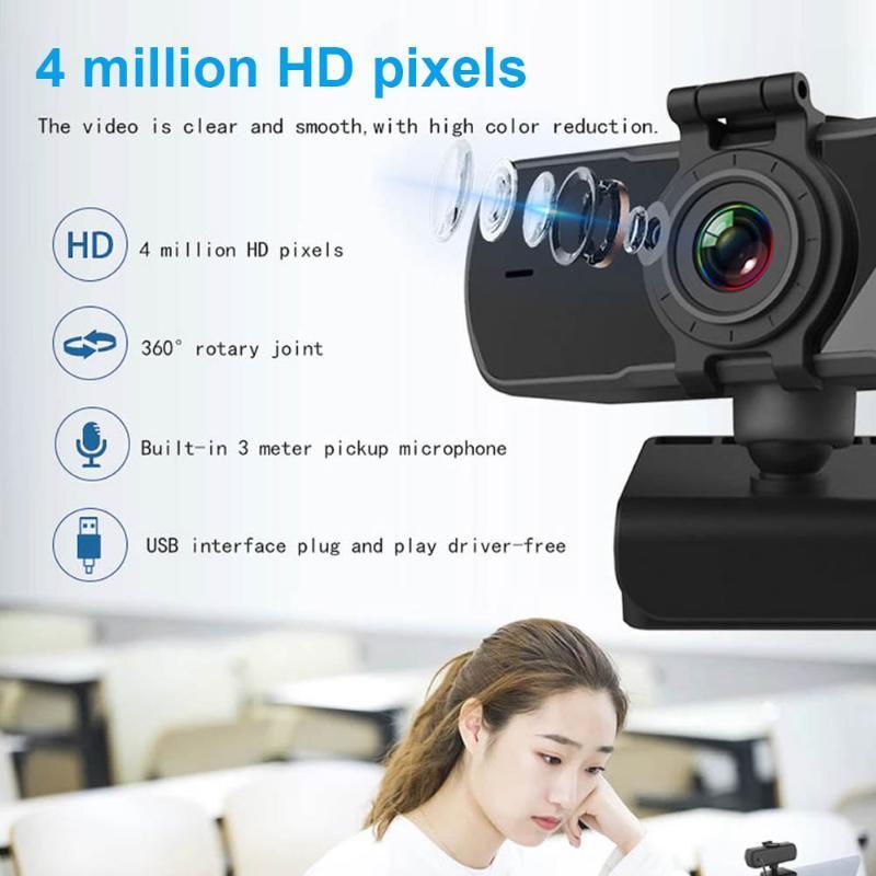 C6 QHD 2K WebCam Webcam 4MP Компьютерная ПК Web Camera с крышкой конфиденциальности микрофона для видеозвонок на YouTube Skype Video Conserencing