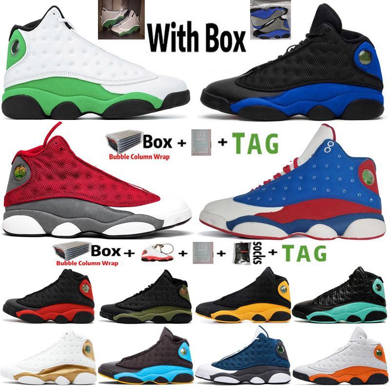 2021 Kutusu Jumpman 13 13s Şanslı Yeşil Hiper Kraliyet Yansıma Erkek Basketbol Ayakkabıları Denizyıldızı Bred Flint Siyah Kedi Mahkemesi Mor Spor Eğitmenler Sneakers Boyutu 7-13