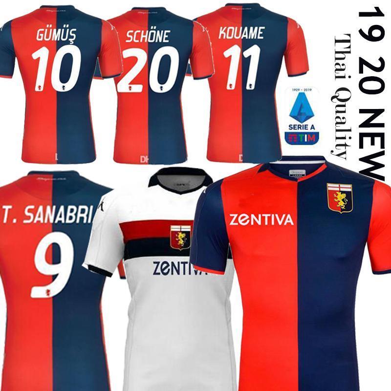 NCAA Genoa CFC Soccer Jerseys Home 2019 2020 Maglie da Calcio Gumus Kouame Romero Sturaro S. Pinamonti Shirts de football 19 20