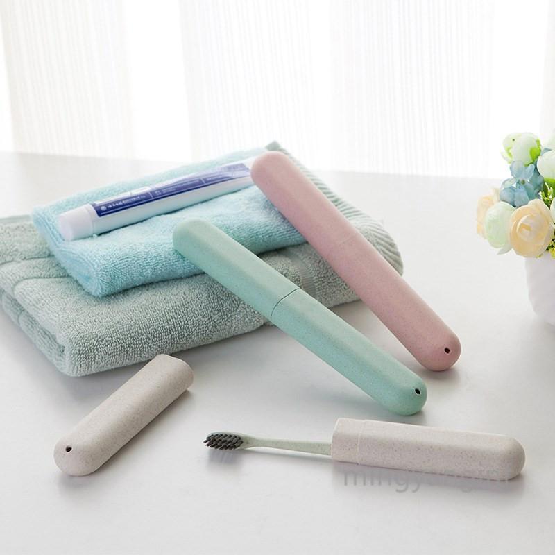 Caja de cepillo de dientes de viaje portátil Caja de cepillo de dientes de paja de trigo Multifusión Titular de cepillo de dientes para viajar Viaje de negocios Camping My-inf0612