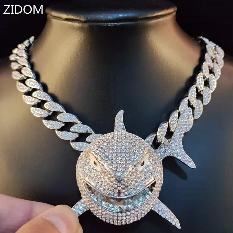 Big Size Shark Anhänger Halskette für Männer 6ix9ine Hip Hop Bling Schmuck mit Iced Out Kristall Miami Kubanische Kette Modeschmuck Y1220
