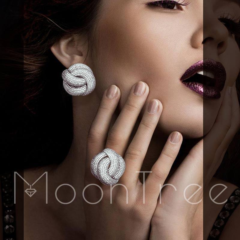 MoonTree Luxury Cubic Zirconia Wedding Earring And Ring Set for Women Bridal Engagement Wedding Fashion Jewelry Set