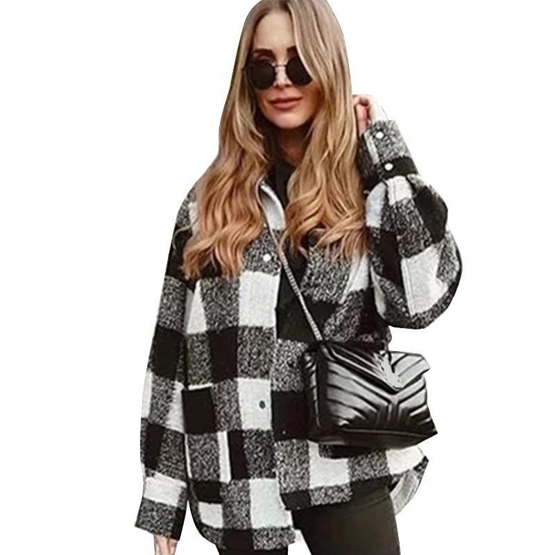 La lana de las mujeres combina la chaqueta de lana de estilo de camisa transfronteriza de Amazon, otoño e invierno, negro, llanta blanca, mujer, mujer 2021