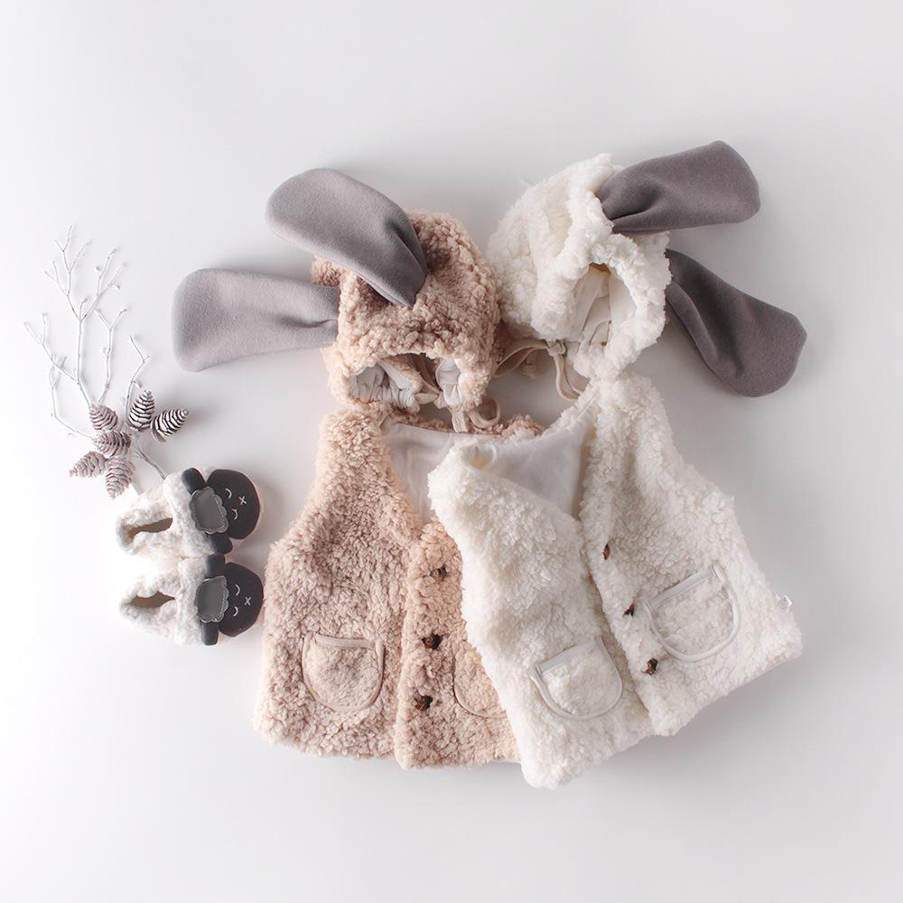 Inverno Nuova Pelliccia Gambata calda e cappello Baby 0-2 anni Cardigan Cashmere Giacca cappotto